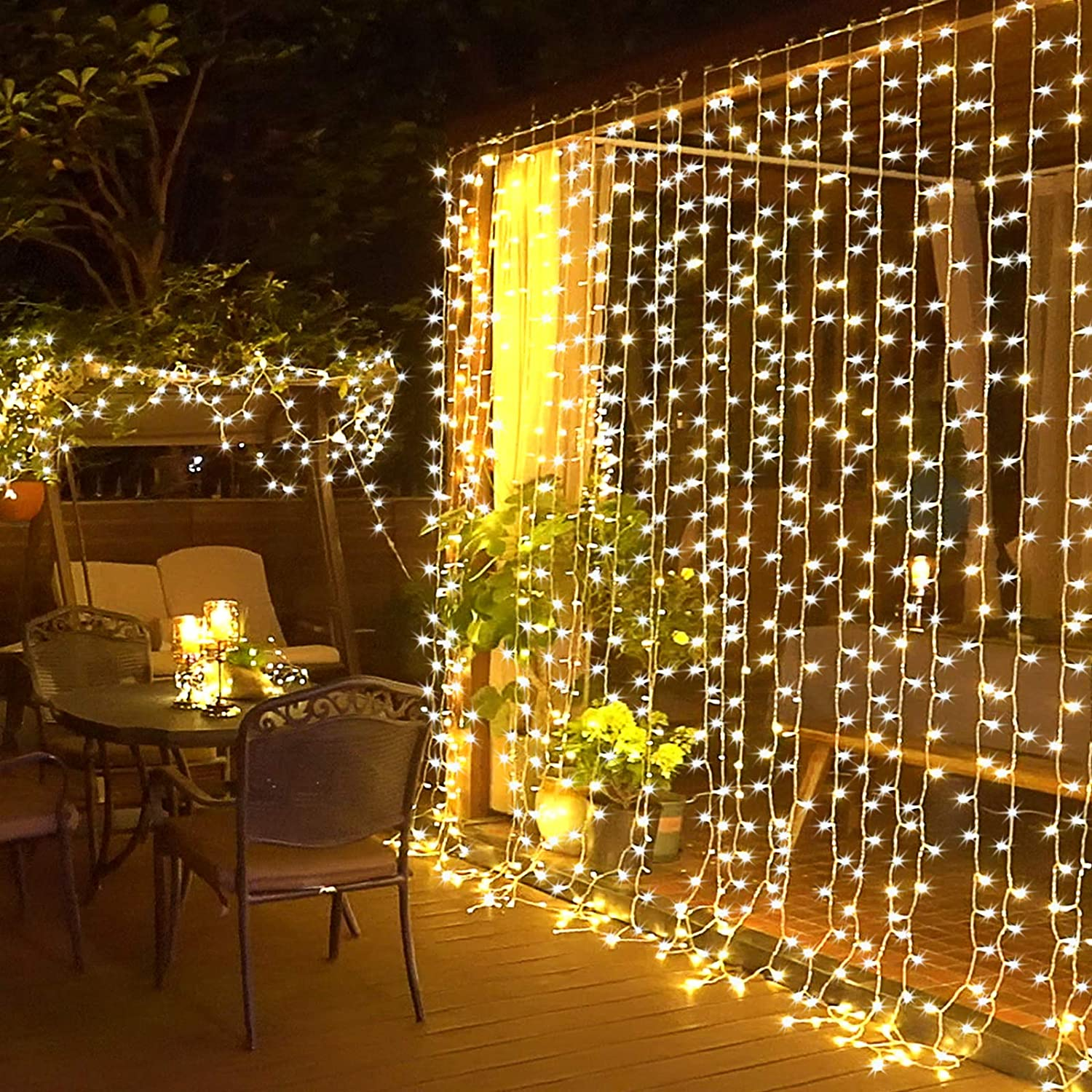 Blue JMEXSUSS Remote Control 300 LED Window Curtain String Light for Wedding Party Home Garden Bedroom Outdoor Indoor Wall Decorations