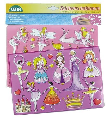 Zeichenschablonen Set Prinzessinnen und Elfen mit 2 Schablonen... Lena 65766