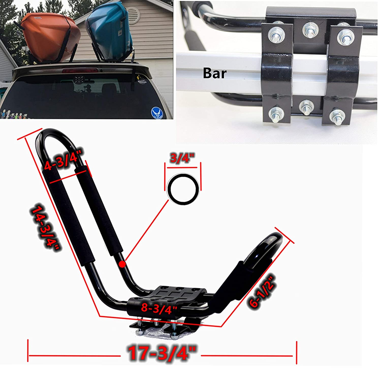 2Pairs /… HKYM Kayak Roof Rack Black J Kayak Carrier for Roof Rack for SUV