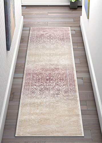 Well Woven Celine Lavender Persian Vintage Medallion 2×7 2 3 x 7 3 Runner Area Rug Purple Modern Distressed Oriental Carpet