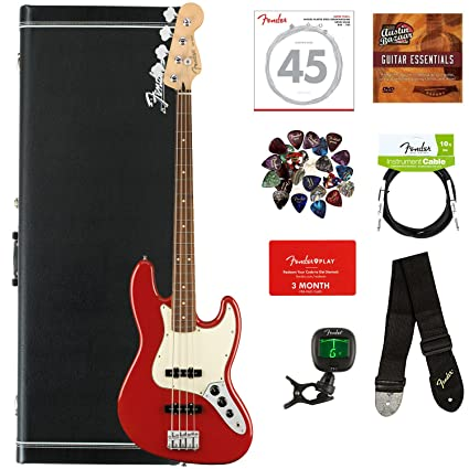 Fender Player Jazz Bass, Pau Ferro - Sonic Red Bundle with Hard Case,  Cable, Tuner, Strap, Strings, Picks, Fender Play Online Lessons, and Austin
