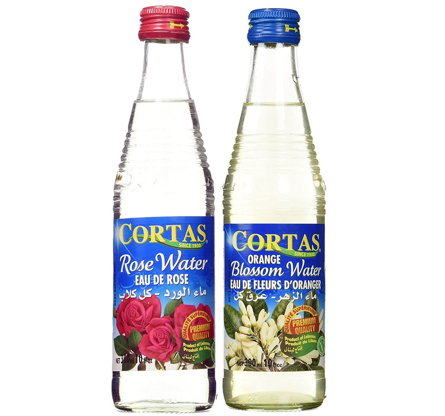 Cortas Combo Pack - 1) Cortas Rose Water 10 Fl. Oz., & 2) Cortas Orange Blossom Water 10 Fl. Oz - Total 2 Bottles