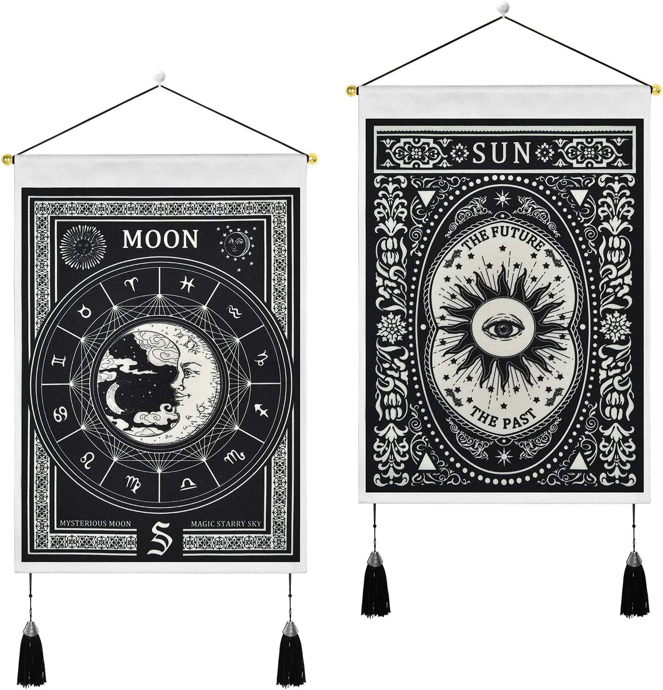 Pack of 2 Tarot Tapestry Moon and Sun Tapestry Mysterious Tarot Cards Tapestries White and Black Tapestry Wall Hanging for Room (13.8 x 19.7 inches)