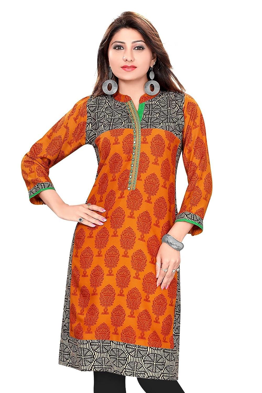 Indian Tunic Top Women's Long Printed Rayon Kurti