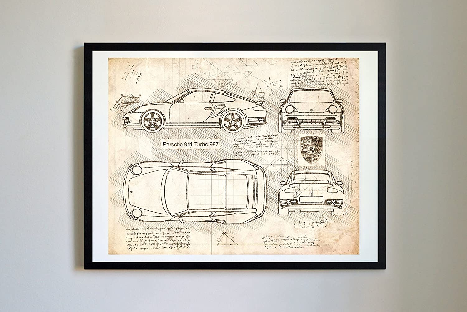 Amazon.com: DolanPaperCo #287 Porsche 911 Turbo 997 2006 Art Print, da Vinci Sketch - Unframed - Multiple Size/Color Options (16x20, Blueprint): Posters & ...