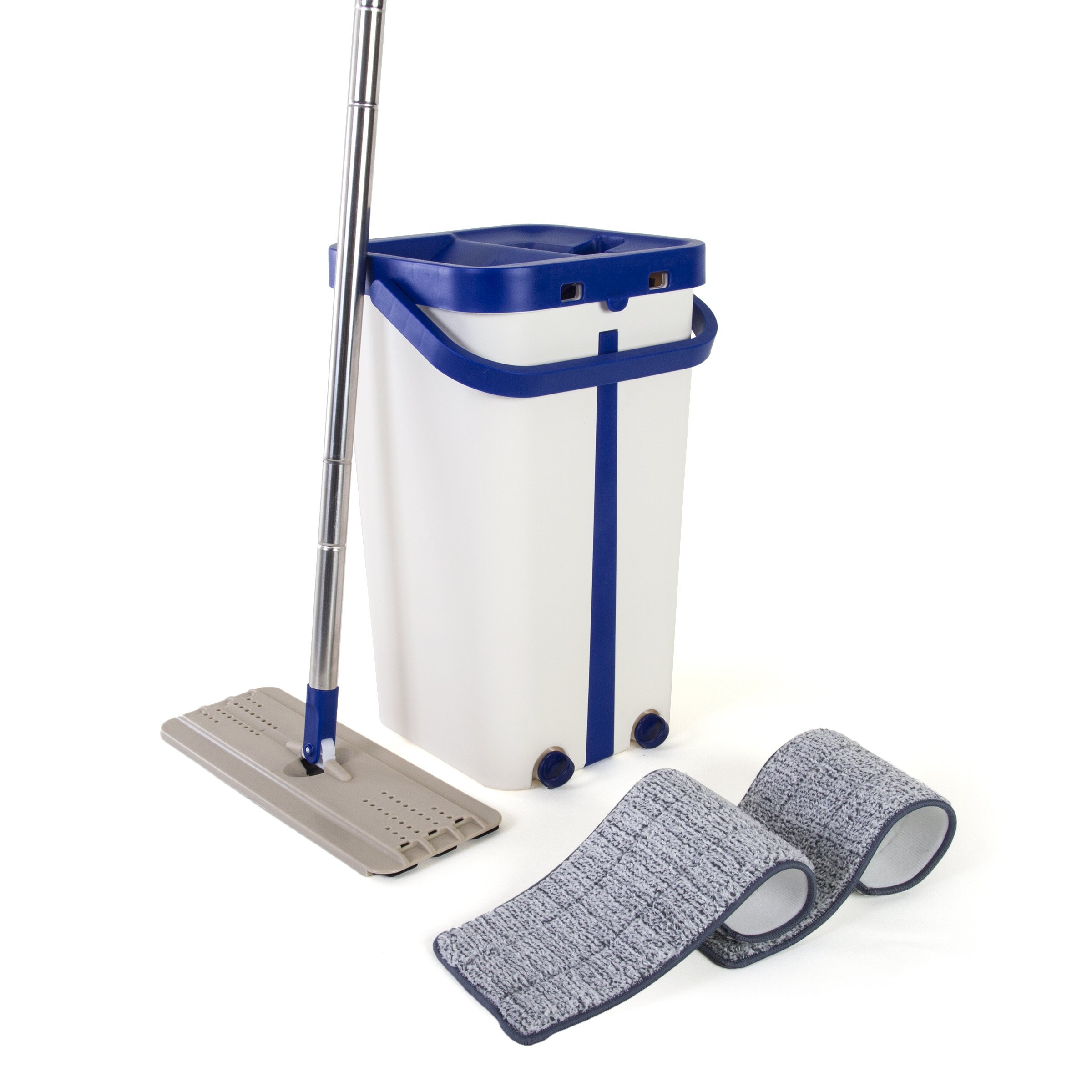 Kitchen + Home Wash & Dry Mop – Self Cleaning Flat Mop and Bucket System with 2 Reusable Microfiber Mop Pads for Wet and Dry Mopping on All Floor Surfaces