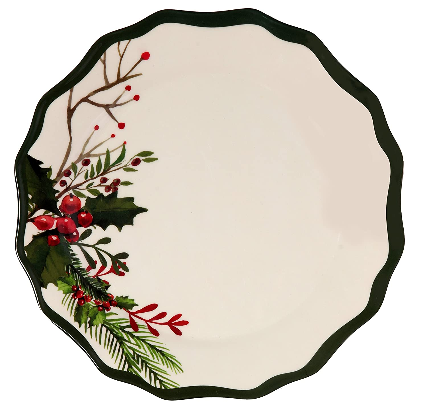 Melange 6-Piece 100% Melamine Salad Plate Set (Winter Bouquet Collection ) | Shatter-Proof and Chip-Resistant Melamine Salad Plates Ruby Compass Melamine 612409791849