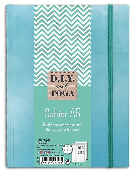 D.i.y with Toga cuaderno de puntos, papel, azul pastel, 15 x ...