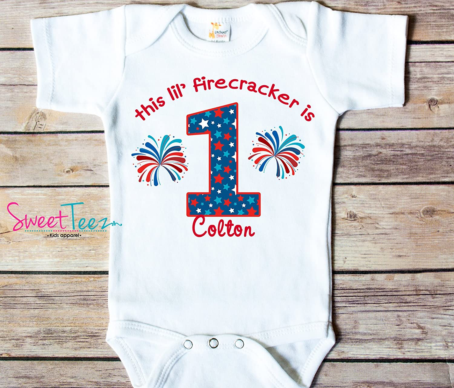 Amazon My First Birthday Shirt 4th Of July 1st Little Firecracker Personalized Handmade