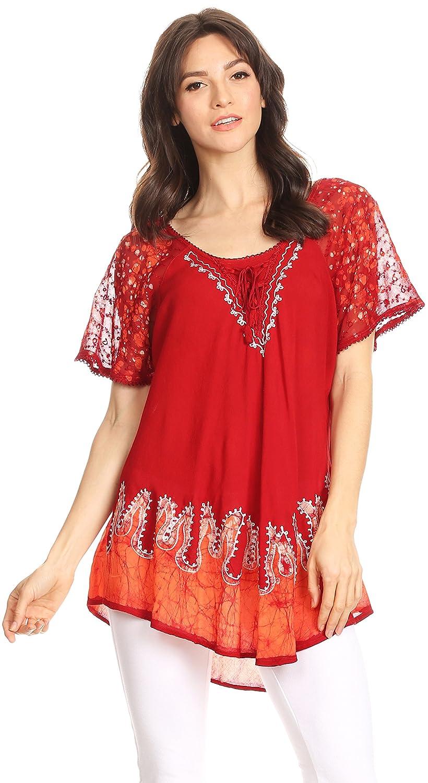 Sakkas Cora Relaxed Fit Batik Design Embroidery Cap Sleeves Blouse//Top