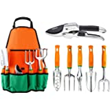 Garden Tool Set, UKOKE 7 Piece Aluminum Hand Tool Kit, Garden Canvas Apron with Storage Pocket, Outdoor Tool, Heavy Duty Gardening Work Kit with Ergonomic Handle, Gardening Tool (7 Tools Set)
