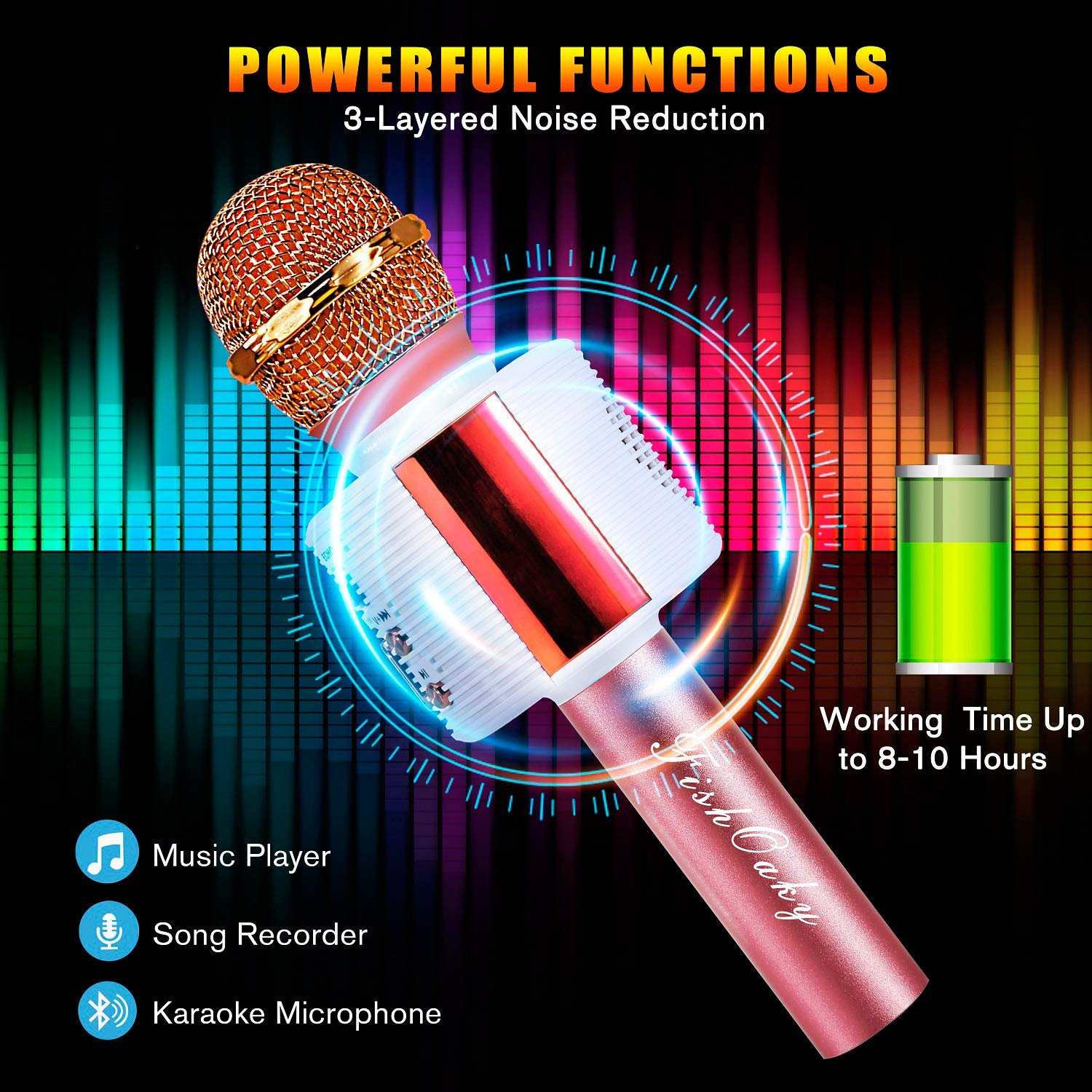 FishOaky Wireless Bluetooth Karaoke Microphone, Portable Kids Microphone Karaoke Player Speaker with LED & Music Singing Voice Recording for Home KTV Kids Outdoor Birthday Party (Rose Gold) by FishOaky (Image #4)
