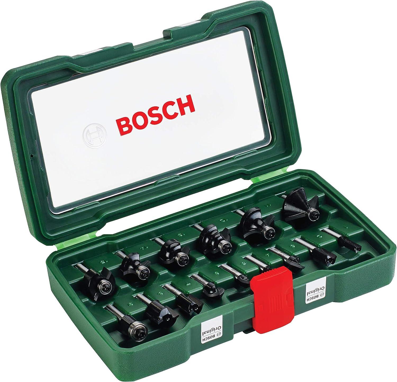 Bosch Set de 15 fresas de metal duro (para madera, vástago de 1/4 pulgadas, accesorios para fresadora)