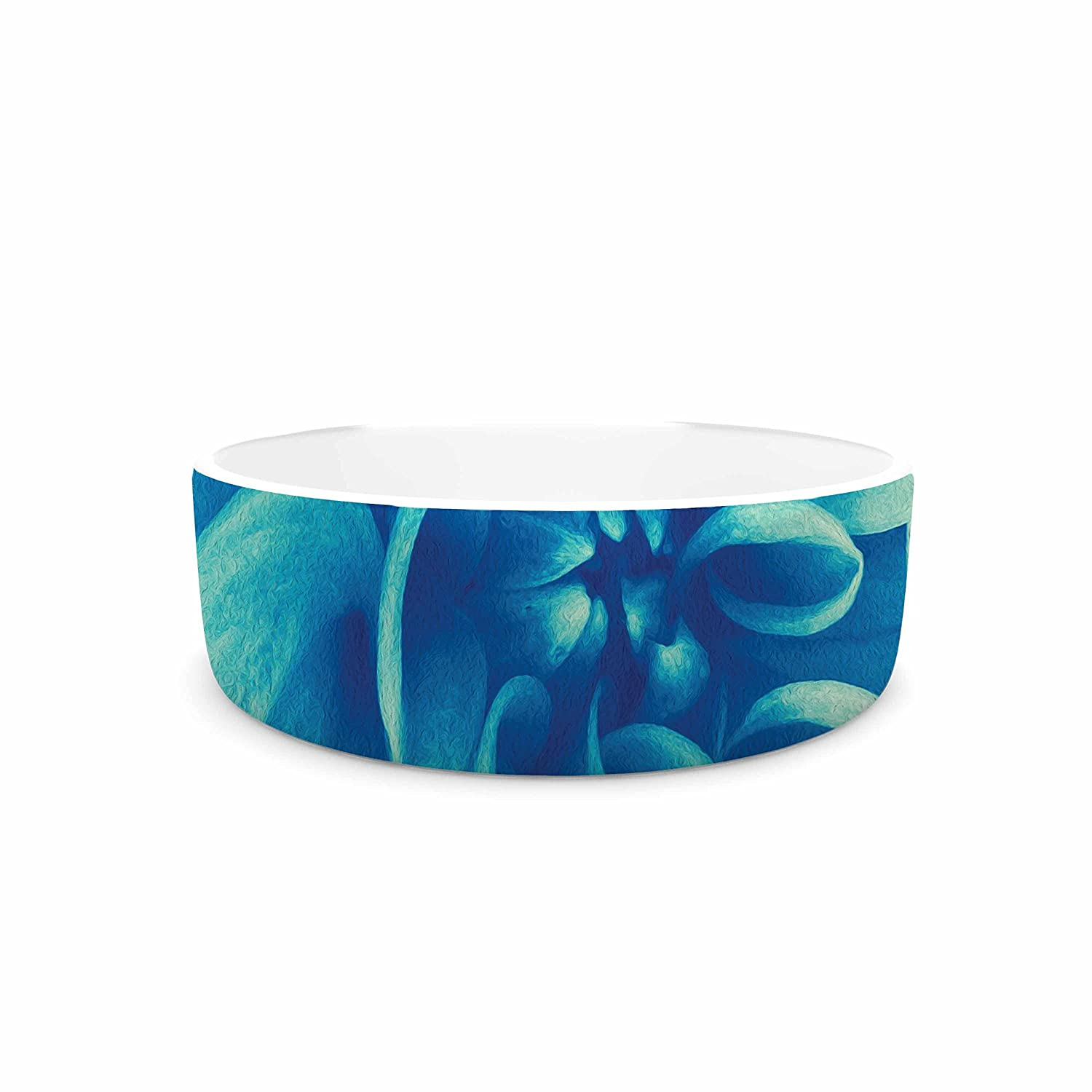 7\ KESS InHouse Graphic Tabby bluee Beauty  Teal Floral Pet Bowl, 7