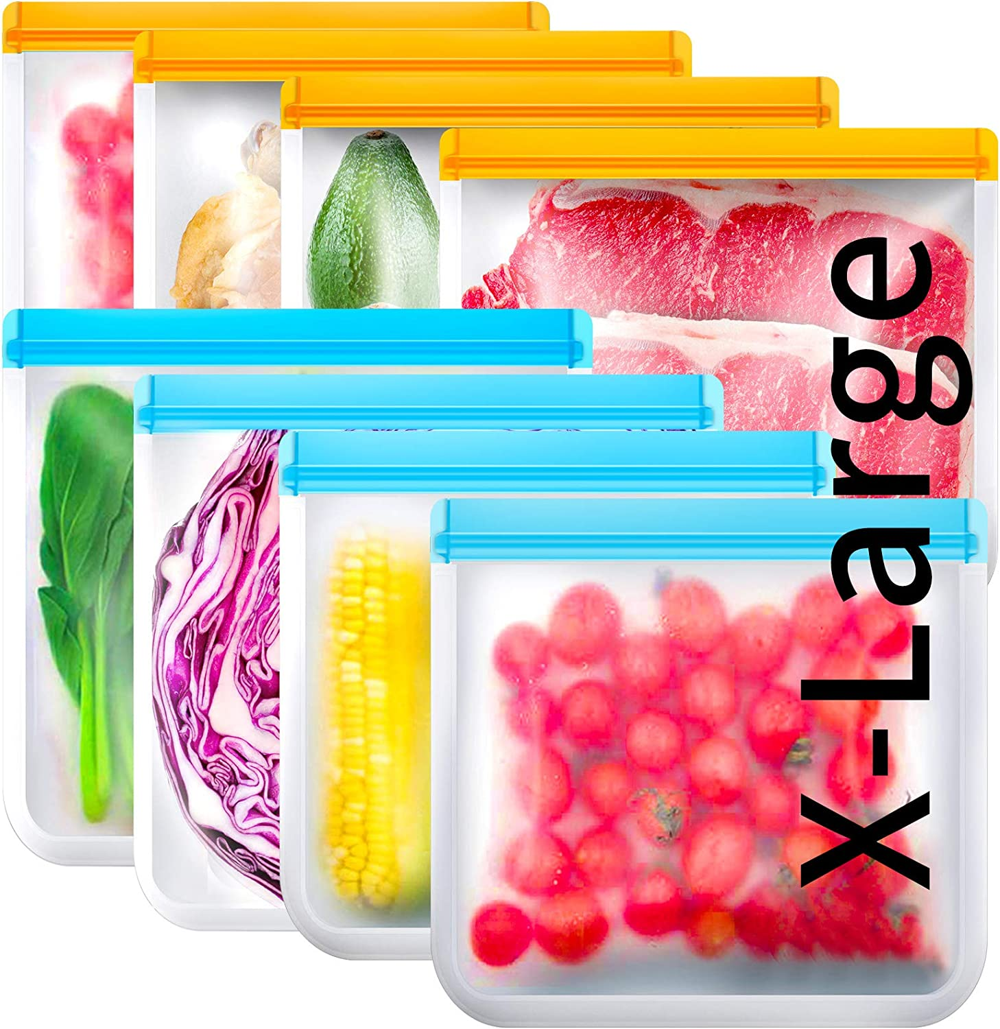 Reusable Gallon Freezer Bags 8 Pack, Silicone Food Storage Bags BPA Free, Reusable Food Storage Bags for Lunch, Meat, Frozen Chicken Breast, Fruit, Vegetables