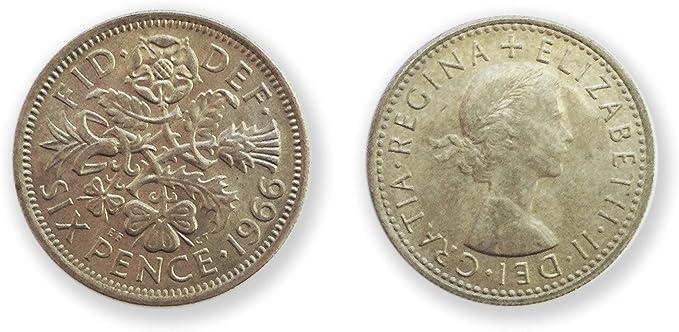 Monedas para coleccionistas - 1966 rara 6p seis peniques fuera de circulación - World años taza de seis peniques / monedas británicos: Amazon.es: Juguetes y juegos