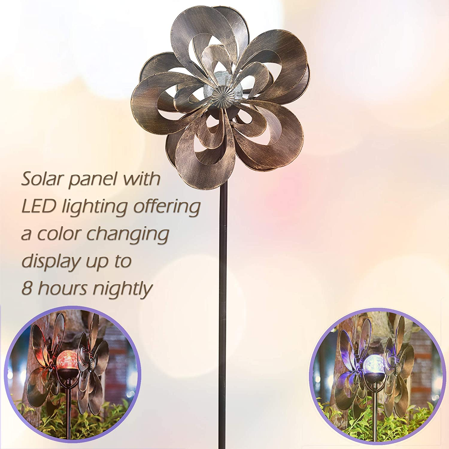 Solar Wind Spinner Magnolia Multi-Color Seasonal LED Lighting Solar Powered Glass Ball with Kinetic Wind Spinner Dual Direction for Patio Lawn & Garden