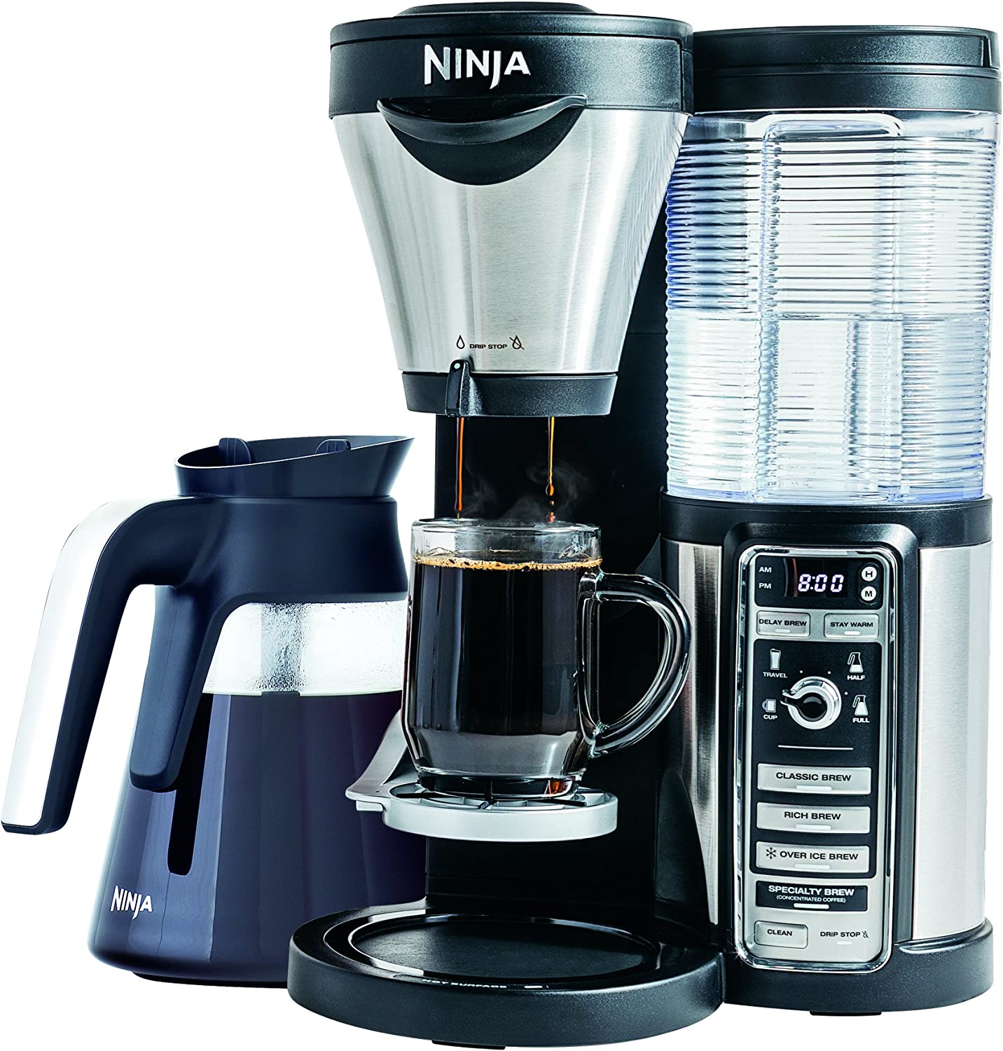 Ninja Coffee Maker for Hot Iced Coffee with 4 Brew Sizes, Programmable Auto-iQ, Milk Frother, 43oz Glass Carafe, Tumbler and 100 Recipes CF082