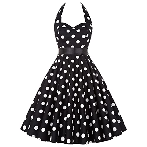 Yafex Pinup Polka Dot Vintage 1950s 1960s Rockabilly Swing Prom Dress X-Large Black Polka