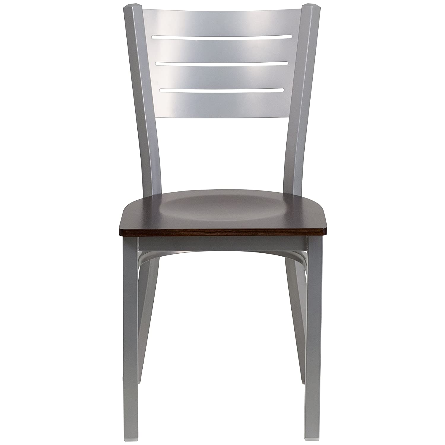 Amazon.com   Flash Furniture HERCULES Series Silver Slat Back Metal  Restaurant Chair   Walnut Wood Seat   Chairs