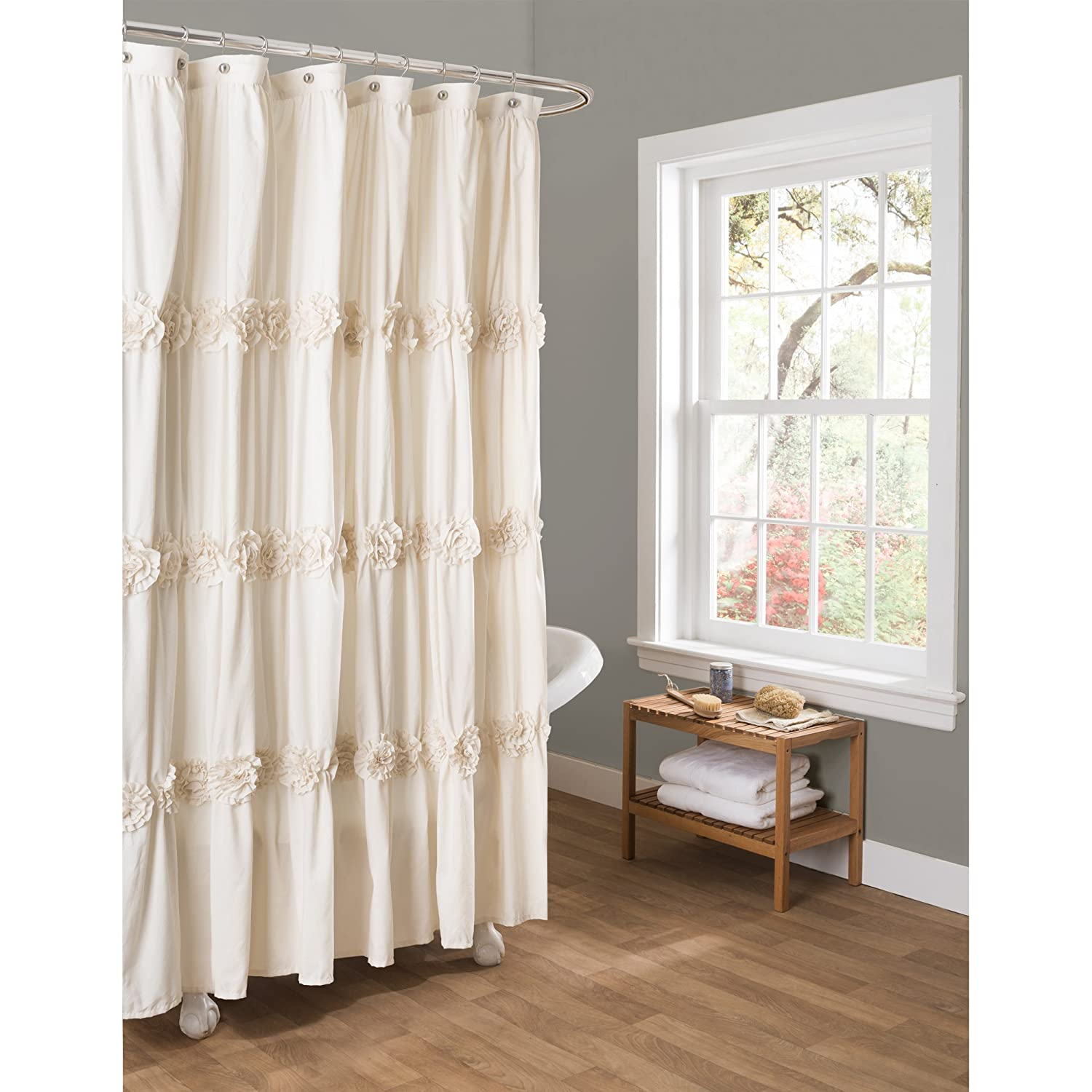 Amazon.com: Lush Decor Darla Shower Curtain, 72 By 72 Inch, Ivory: Home U0026  Kitchen