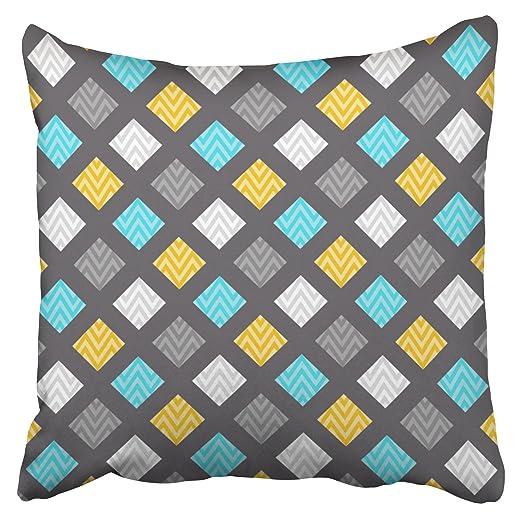 emvency funda de almohada masculino gris azul amarillo ...