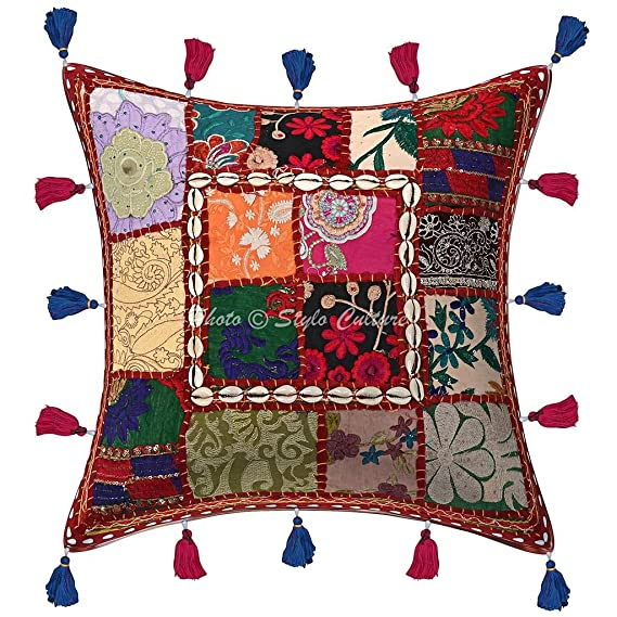 Amazon.com: Stylo Culture Cotton Boho Cushion Cover ...