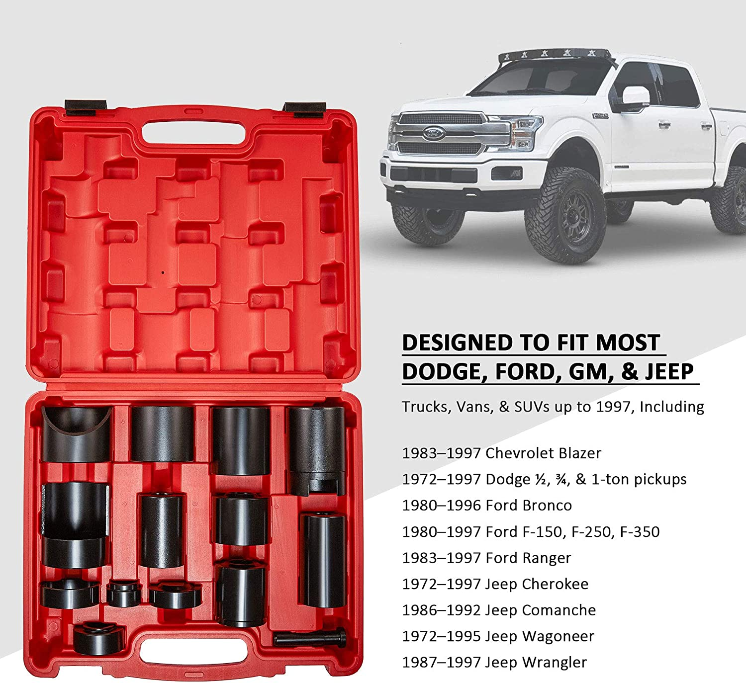 SUVs Red Case Orion Motor Tech 14 Pc Master Ball Joint Adapter Set for Most 2WD and 4WD Trucks Vans