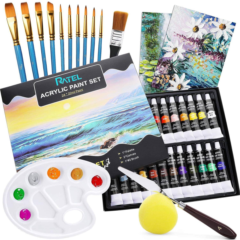 Zestaw farb akrylowych, RATEL 24 tubki wysokiej jakości akrylowego