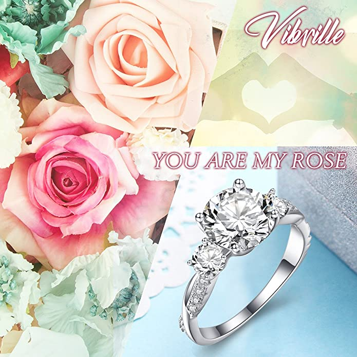 d6dc3b8a438096 Buy Vibrille Vibrille Sterling Silver Twisted Vine Round Three Stone Cubic  Zirconia Engagement Ring for Women Size 7 Online at Low Prices in India |  Amazon ...
