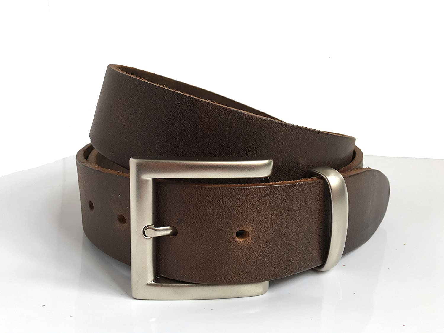 Brown Leather Belt for Men Handmade in UK 1' 1/2 ca. 4cm with Silver Pin Buckle and Silver Loop with Extra Leather Loop Leather Strap also in Black, Tan, Vintage Brown or Navy