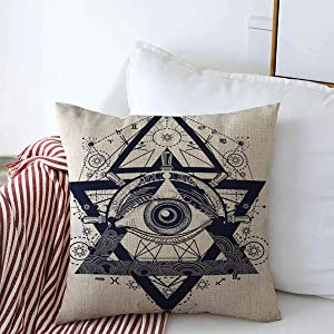 Throw Pillow Case Engraving Antique All Seeing Eye Tattoo Adventure Medieval Compass Astrology Black White Conspiracy Farmhouse Decor Square Covers 18x18 Inch Home Sofa Couch Car