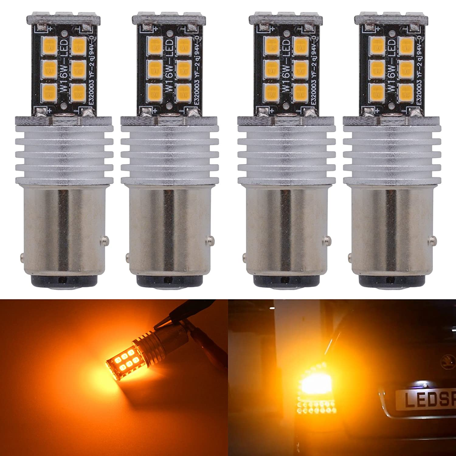KaTur 4pcs High Power 800 Lumens Super Bright 1157 BAY15D 1196 1016 7528 LED 15SMD 2835 Backup Reverse Tail Brake Lights Parking LED Blubs DC 12V Amber 1157/BAY15D