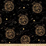 Cotton + Steel Rifle Paper Co. Menagerie Lawn Celestial Metallic Navy Fabric By The Yard