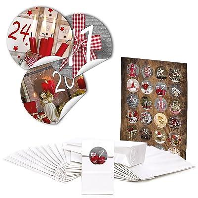 """'pour 4Calendrier. 96Pochettes Cadeaux de Noël blanches avec insert parchemin (7x 4x 20,5cm) et 96rondes Stickers autocollants 4cm """"calendrier de l'avent chiffres 1&ag"""