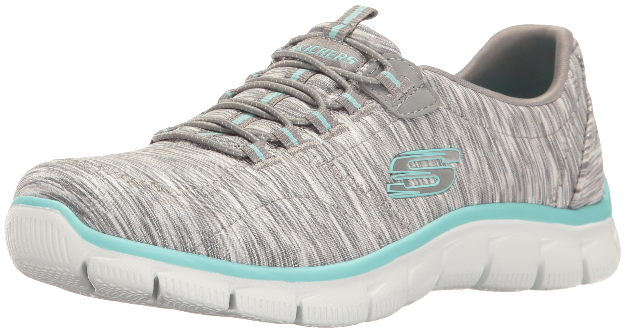 Skechers Women's Sport Empire - Rock Around Relaxed Fit Fashion Sneaker, Gray/Light Blue, 8 B(M) US