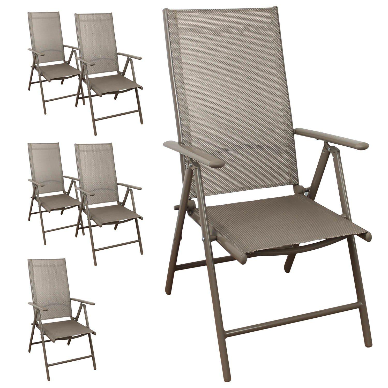 6 Stück Aluminium Hochlehner, Textilenbespannung, 7-fach verstellbar, klappbar, Champagner Gartenstuhl Positionsstuhl Klappstuhl