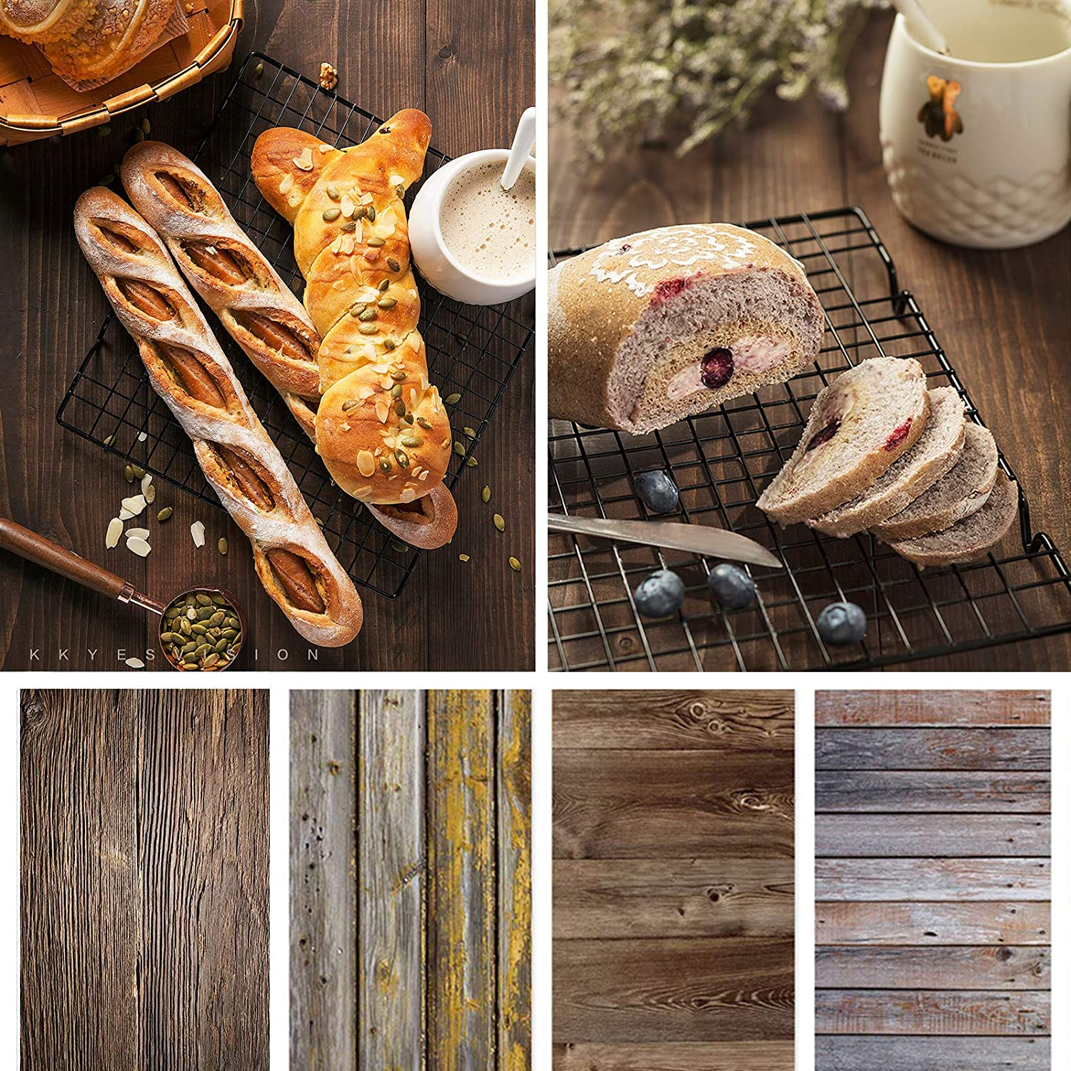 Bcolor Backdrop for Food Photography 4 Pack Kit 22x34Inch/ 56x86cm Wood Photo Background Roll Props Double Sided Rustic for Product Tabletop Photoshoot Pictures, 8 Pattern