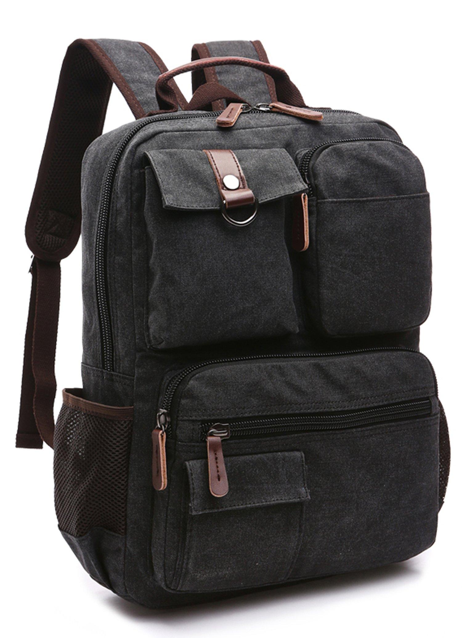 Canvas Backpack, Aidonger Vintage Canvas School Backpack Hiking Travel Rucksack Fits 14'' Laptop (Black-48)
