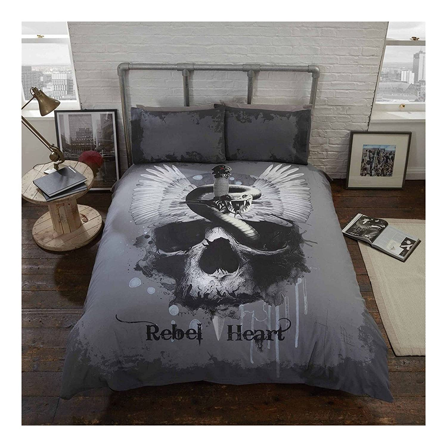 Gothic Duvet Cover /& Pillowcase Set Snakes /& Skulls