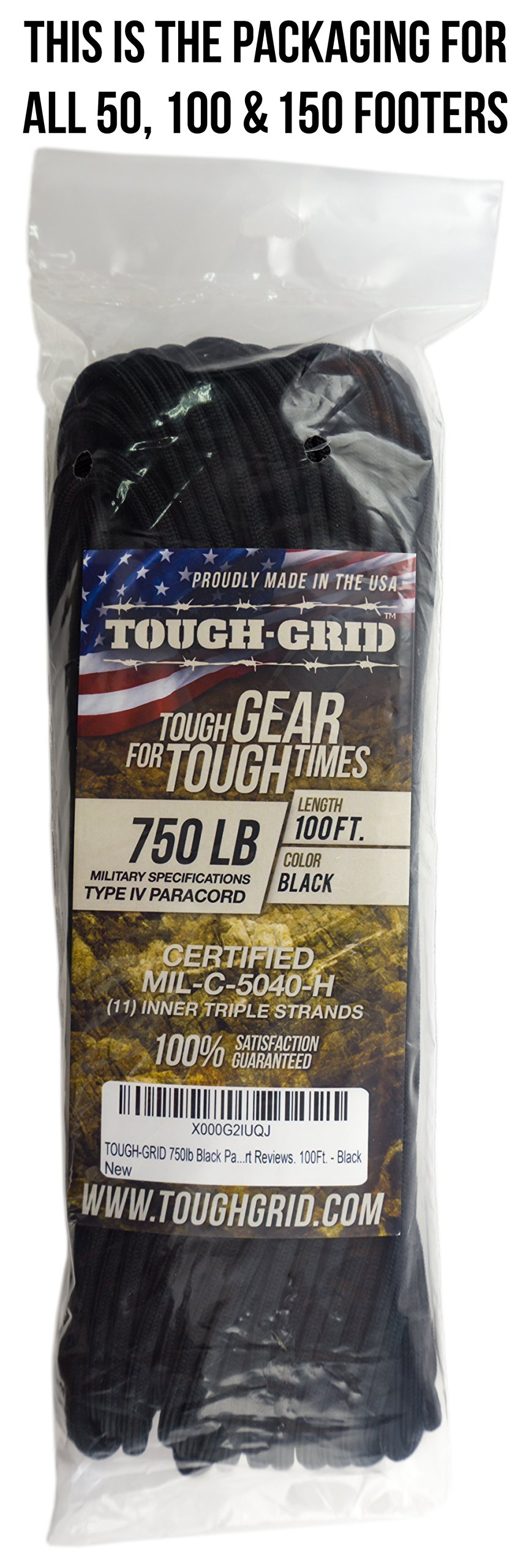TOUGH-GRID 750lb Black Paracord/Parachute Cord - Genuine Mil Spec Type IV 750lb Paracord Used by The US Military (MIl-C-5040-H) - 100% Nylon - Made in The USA. 50Ft. - Black by TOUGH-GRID (Image #5)
