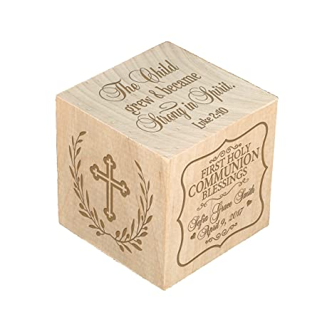 Baptism Christening Baby dedication and First holy Communion Gifts for Boys and Girls Personalized Wooden Block