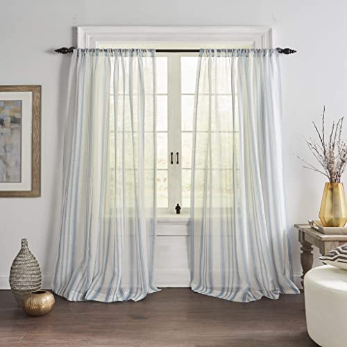 Elrene Home Fashions Hampton Stripe Sheer Window Curtain Panel, 52 x 84 1, Blue