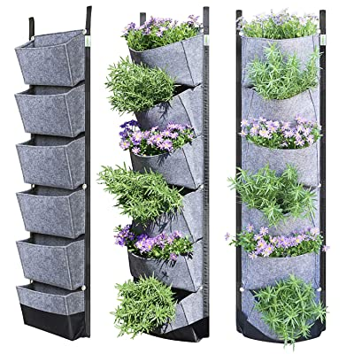 NEWKITS Vertical Wall Garden Planter with 6 Pockets Best Plant Growth Design Large Space Waterproof Breathable Use for Hanging Herb Garden Courtyard Office Home Decoration (Grey): Garden & Outdoor