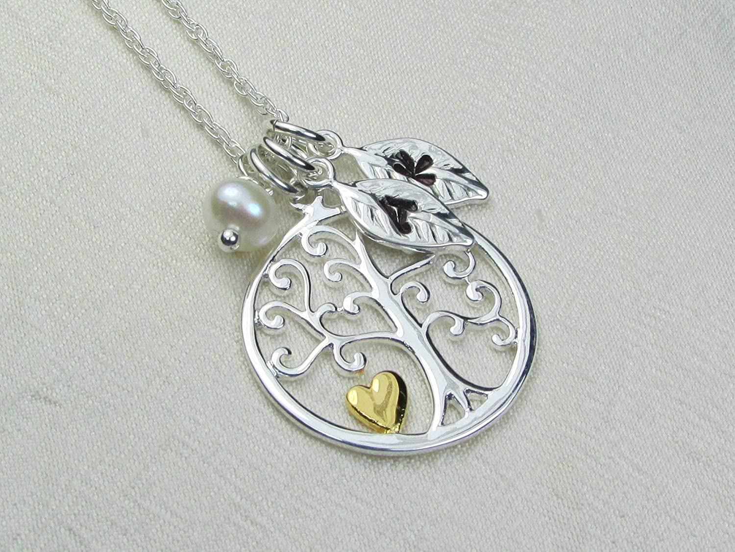 Tree of life Initial Necklace Birthstone Charm With Initial Free Gift Box