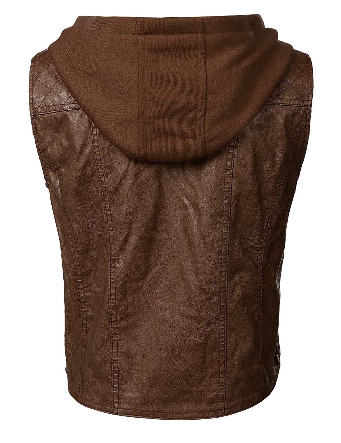 7eec64c1a Faam Collection Special Brown Lambskin Leather Hood with Fabric Hood for  Women
