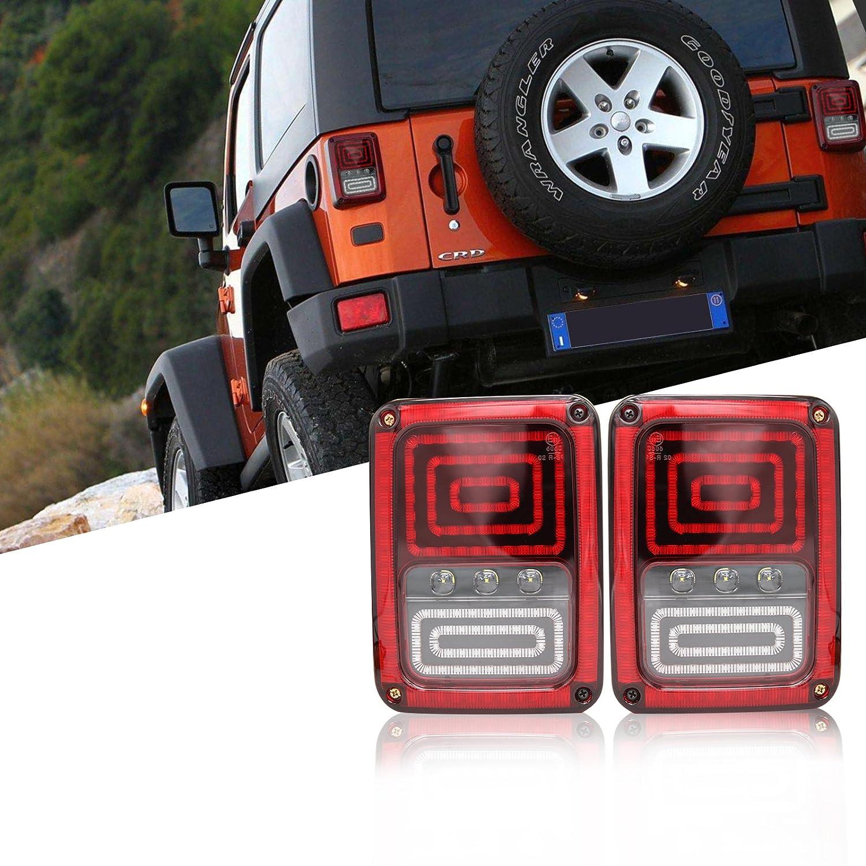 Smke Lens Classic Version BSK Jeep Smoke LED Tail Light for JK 2007-2015 Jeep Wrangler with Running Brake Backup Reverse Turn Signal Tail Light Lamp