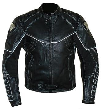 protectWEAR Motorrad Lederjacke Schwarz 62 Auto & Motorrad