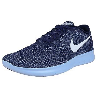wholesale dealer bb644 73970 Nike Free RN, Baskets Mode pour Homme Bleu Mid Night Navy White-Blue