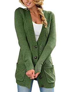 7ddf98d2d78 luvamia Womens Long Sleeve Open Front Buttons Cable Knit Pocket Sweater  Cardigan